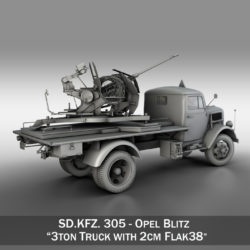 Opel Blitz with 2cm Flak 38 3d model high poly 3ds fbx c4d lwo lws lw obj