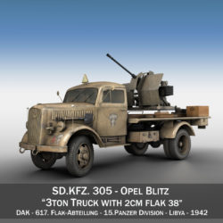 Opel Blitz with 2cm Flak 38 - DAK 3d model high poly virtual reality 3ds fbx c4d lwo lws lw obj