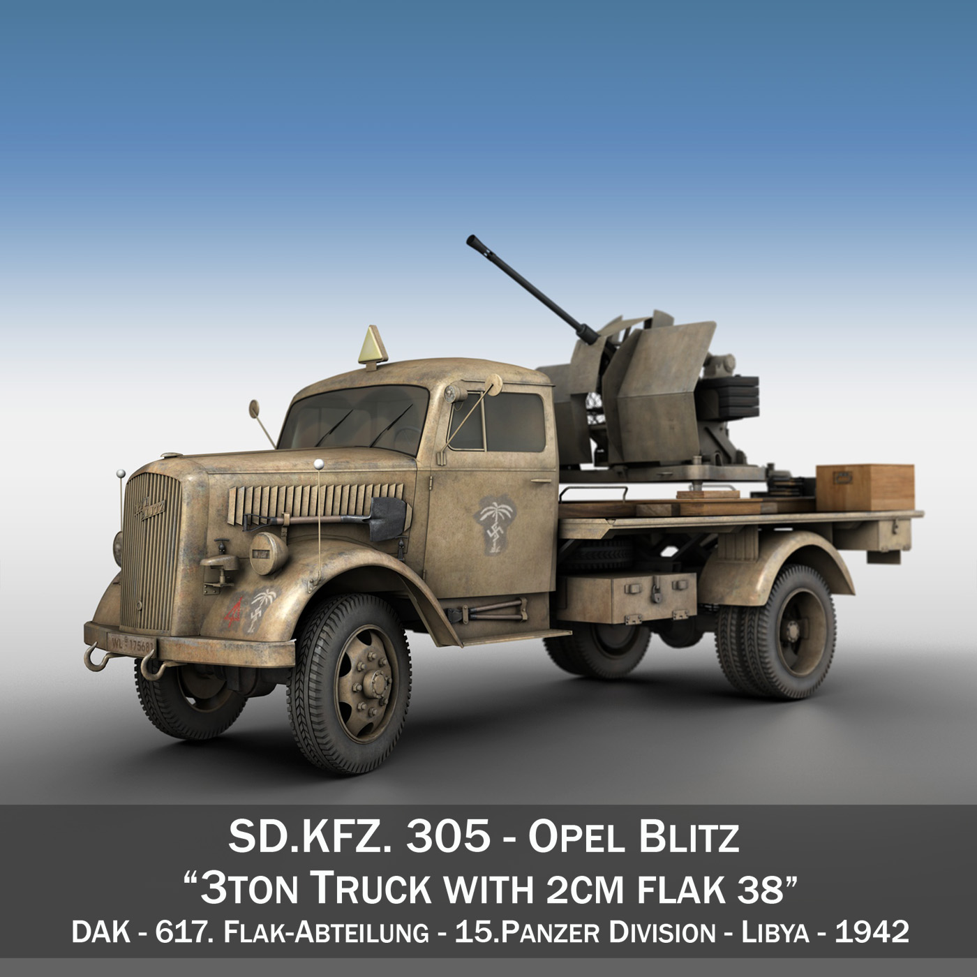 opel blitz with 2cm flak 38 – dak 3d model 3ds fbx c4d lwo obj 269992