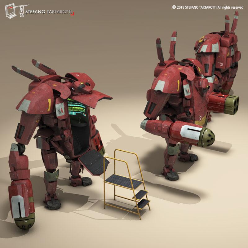 sci-fi mech 3d modelis 3ds dxf fbx c4d dae obj 270019