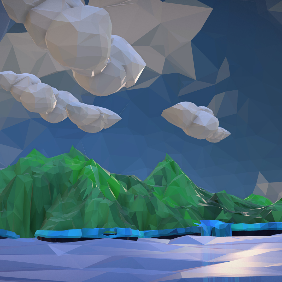 polygon art green waterfall island mountain 3d model max fbx ma mb tga targa icb vda vst pix obj 270058
