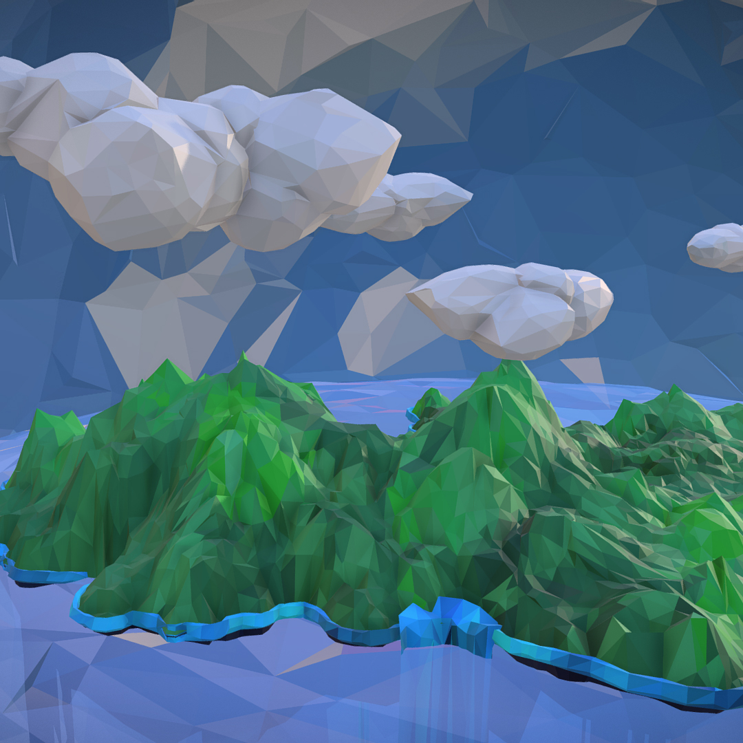 polygon art green waterfall island mountain 3d model max fbx ma mb tga targa icb vda vst pix obj 270059