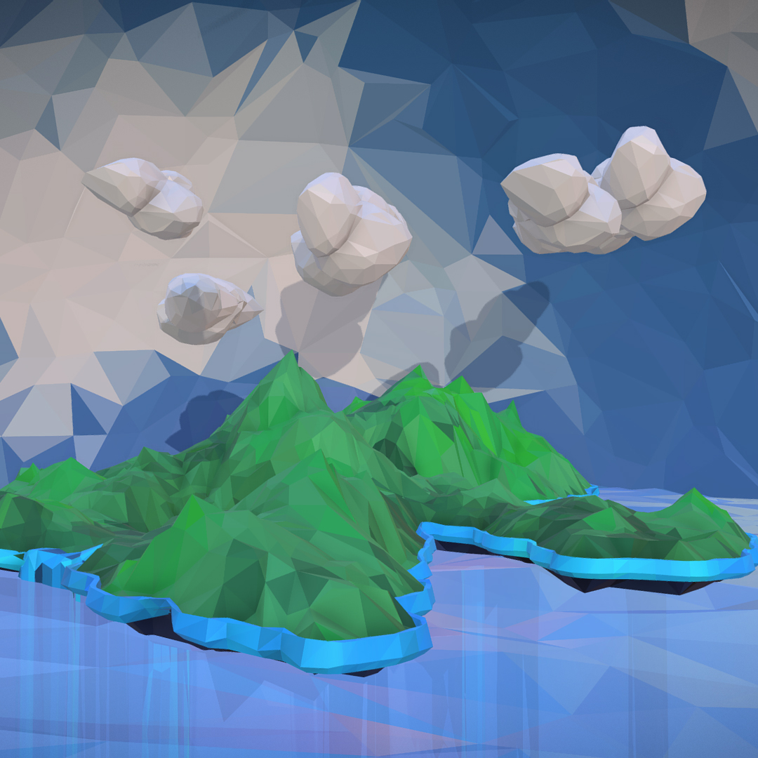 polygon art green waterfall island mountain 3d model max fbx ma mb tga targa icb vda vst pix obj 270062