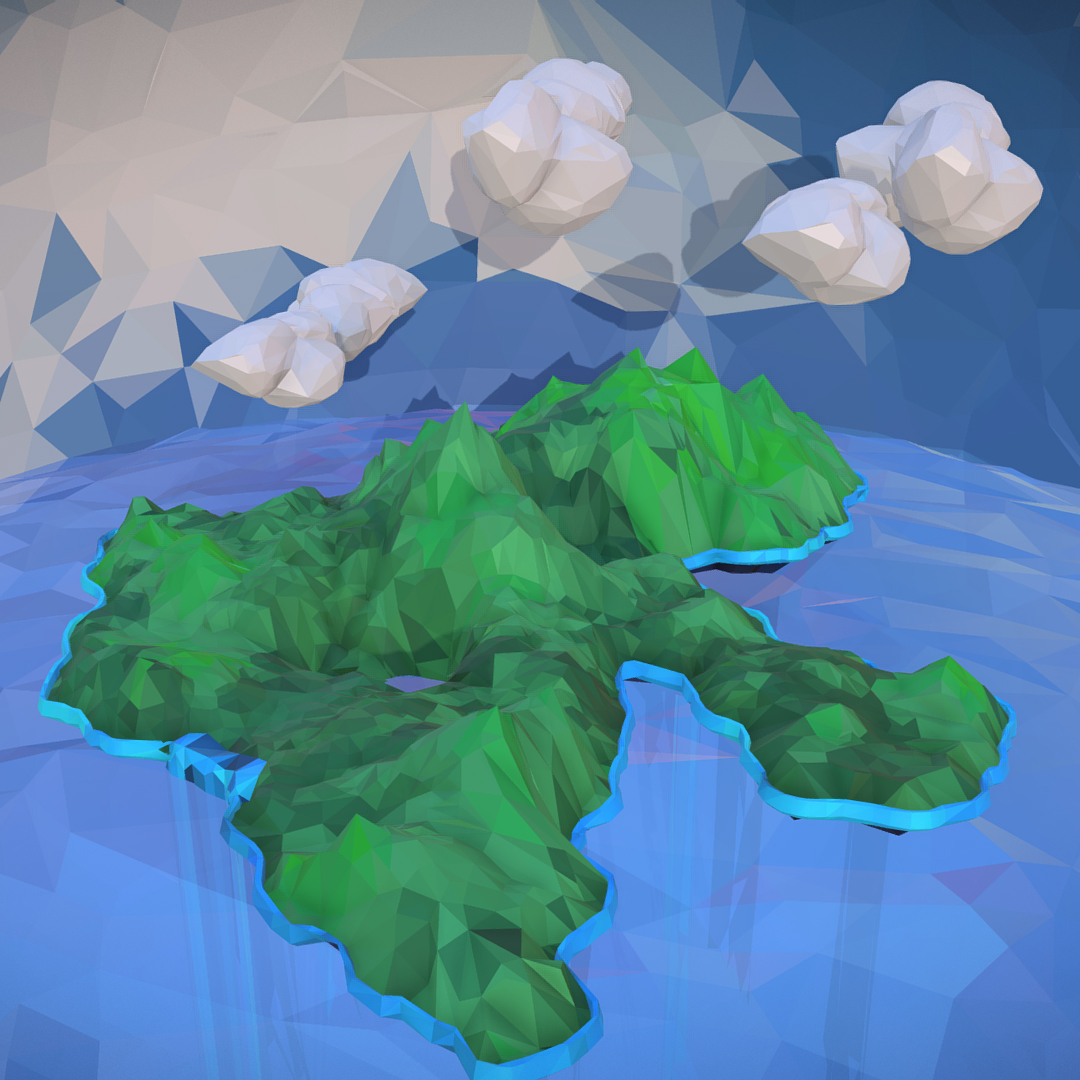 polygon art green waterfall island mountain 3d model max fbx ma mb tga targa icb vda vst pix obj 270063