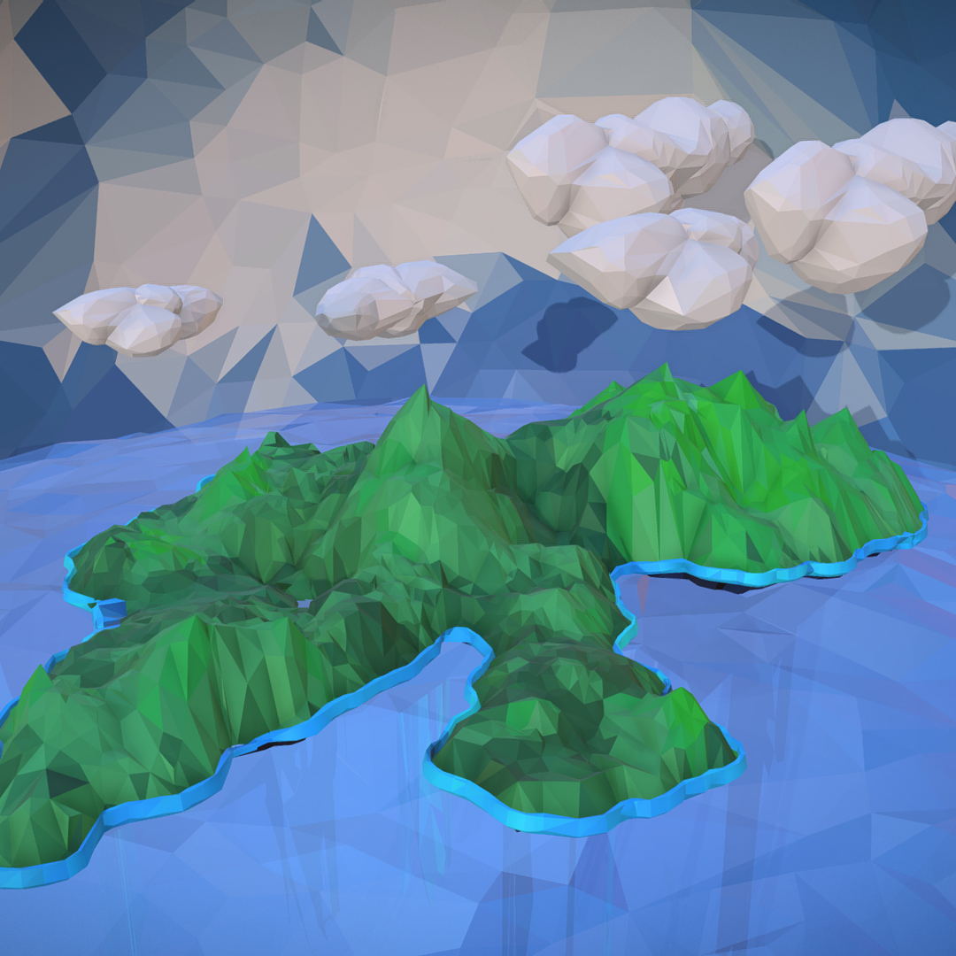 polygon art green waterfall island mountain 3d model max fbx ma mb tga targa icb vda vst pix obj 270064