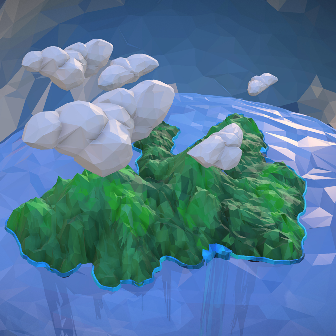 polygon art green waterfall island mountain 3d model max fbx ma mb tga targa icb vda vst pix obj 270067