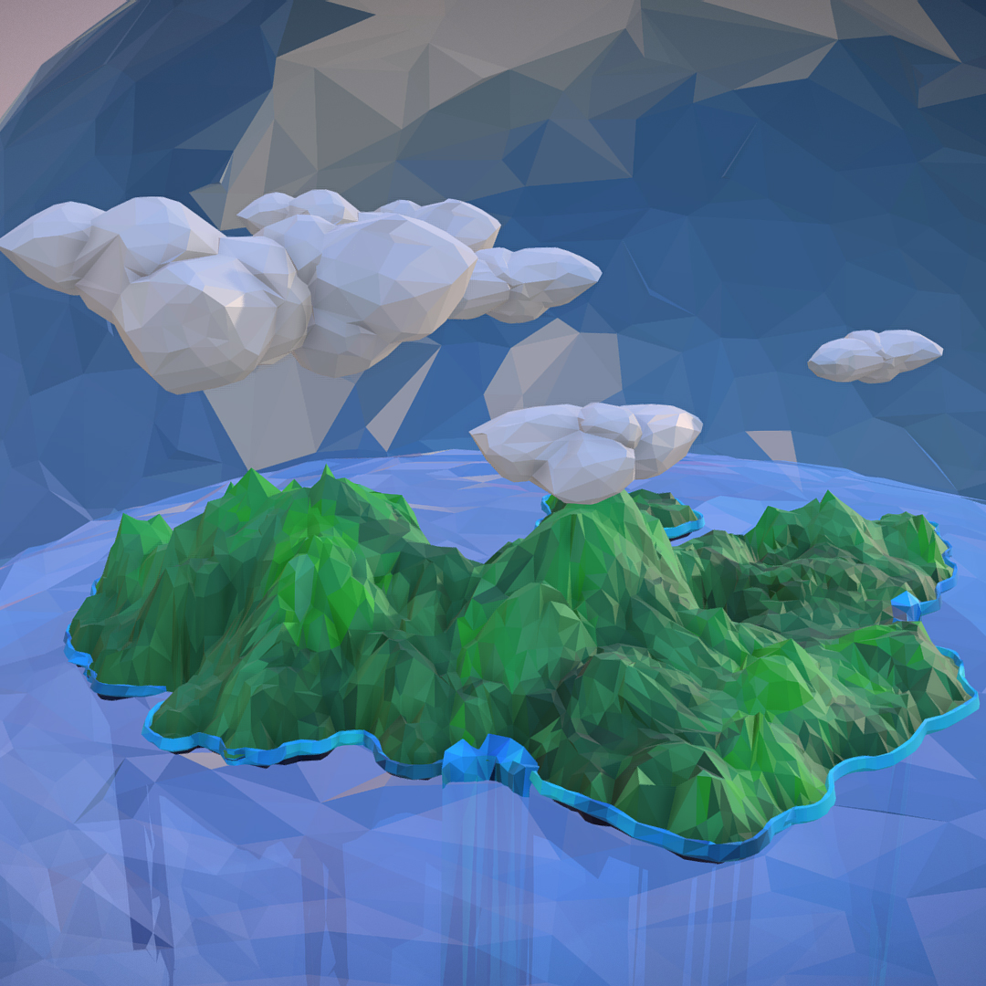 polygon art green waterfall island mountain 3d model max fbx ma mb tga targa icb vda vst pix obj 270068
