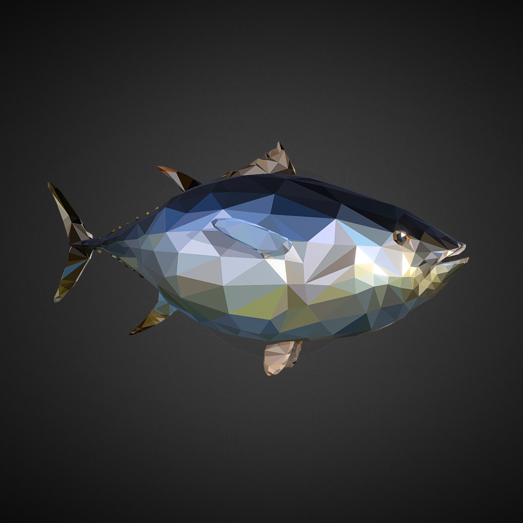 tuńczyk low polygon art ocean fish 3d model 3ds fbx ma mb tga targa icb vda vst pix obj 270102