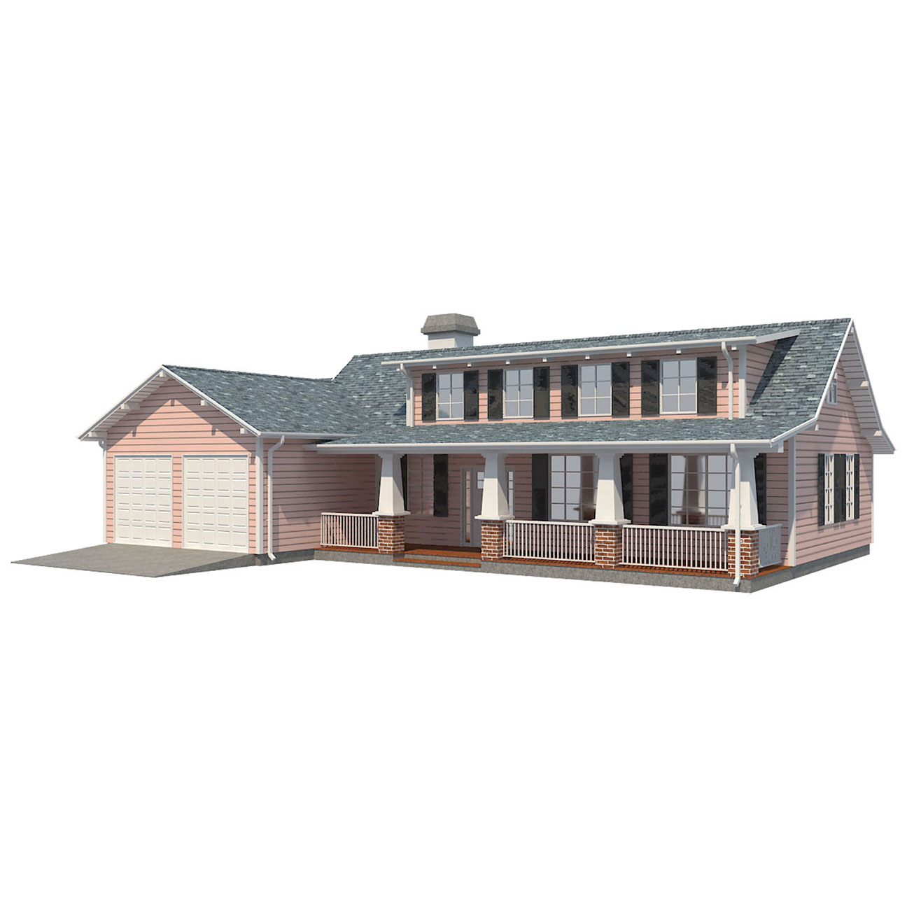 family house european 3d model 3ds max  fbx obj 270209