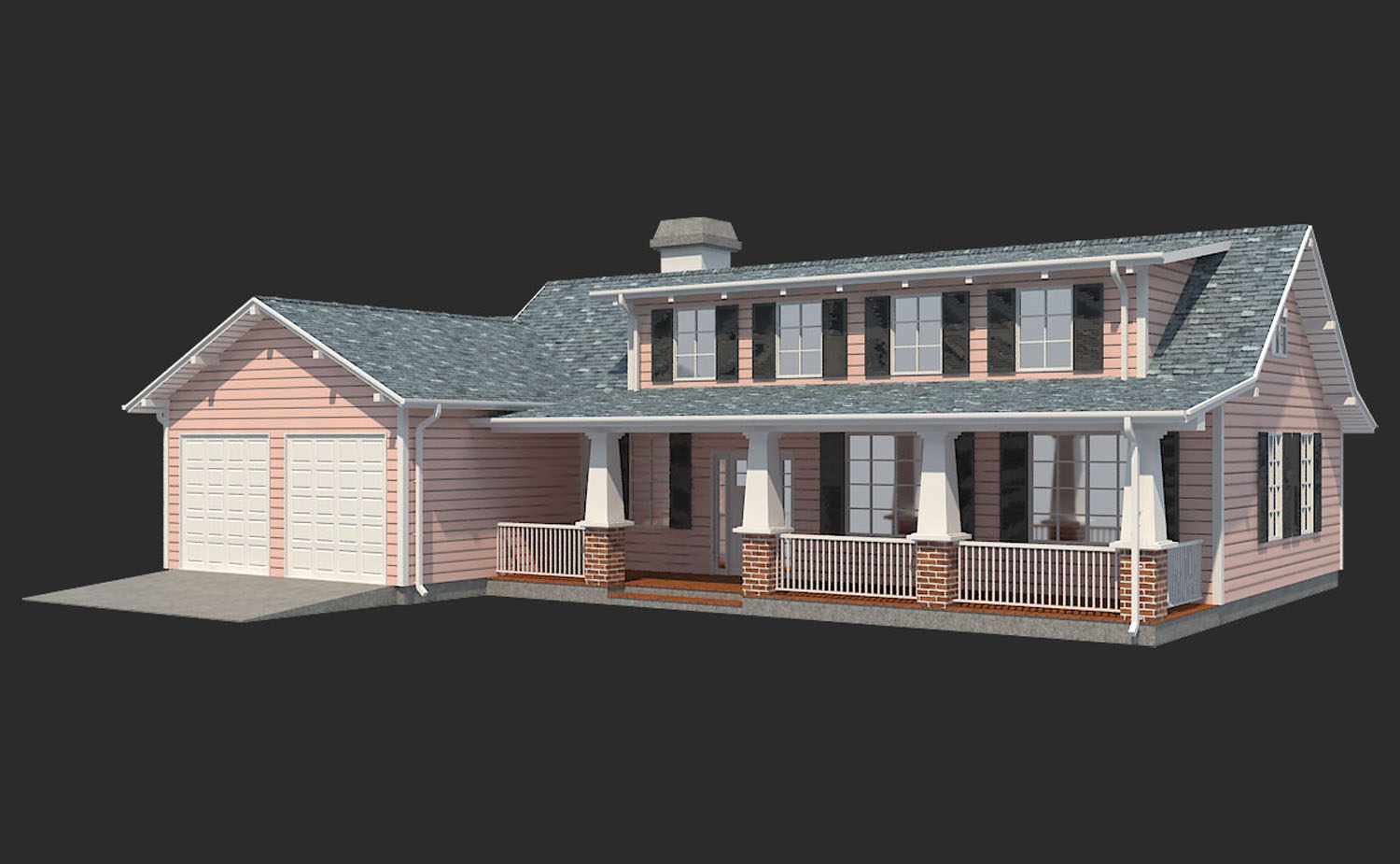 family house european 3d model 3ds max  fbx obj 270210