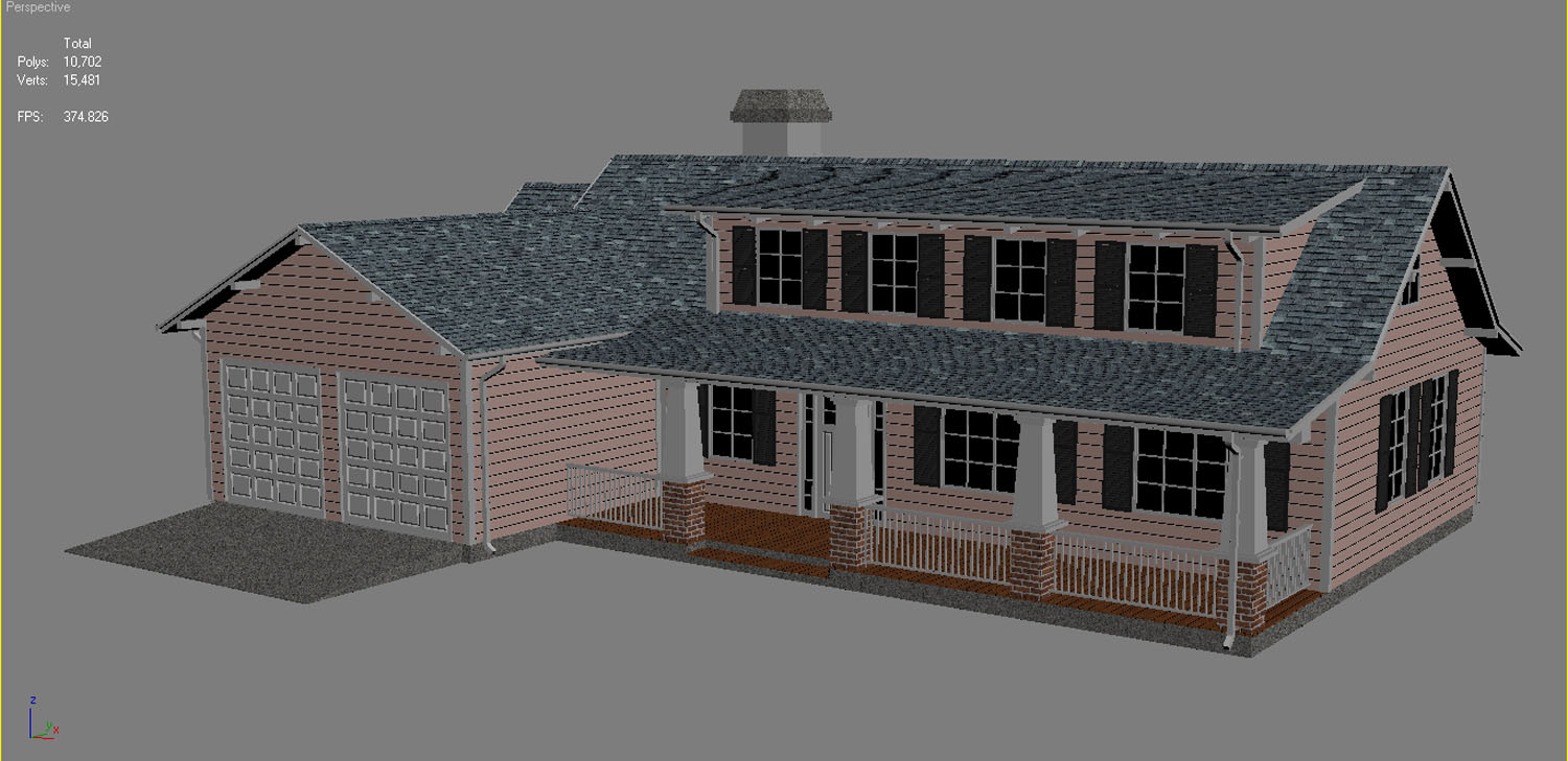family house european 3d model 3ds max  fbx obj 270221