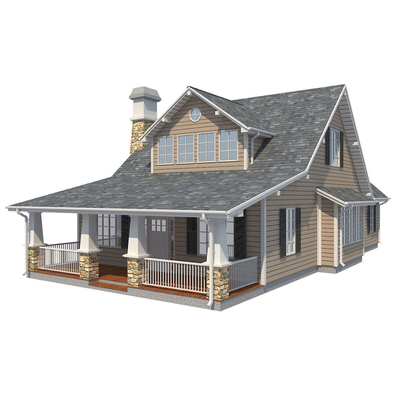 family suburban house 3d model 3ds fbx obj max ds max plugin 270257