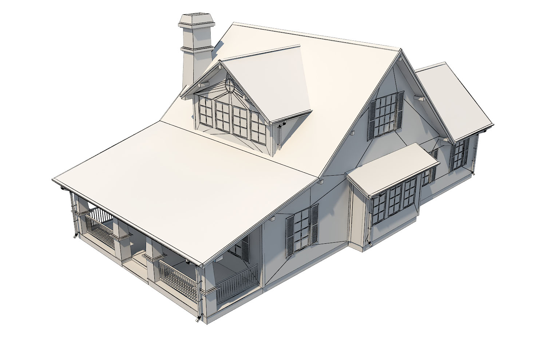 family suburban house 3d model 3ds fbx obj max ds max plugin 270267