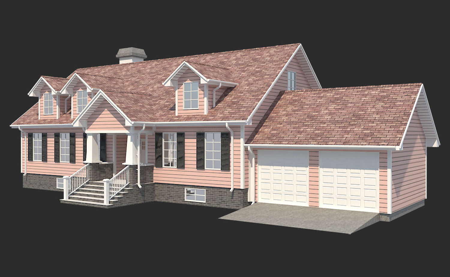 family ranch house 3d model 3ds max  fbx obj 270280