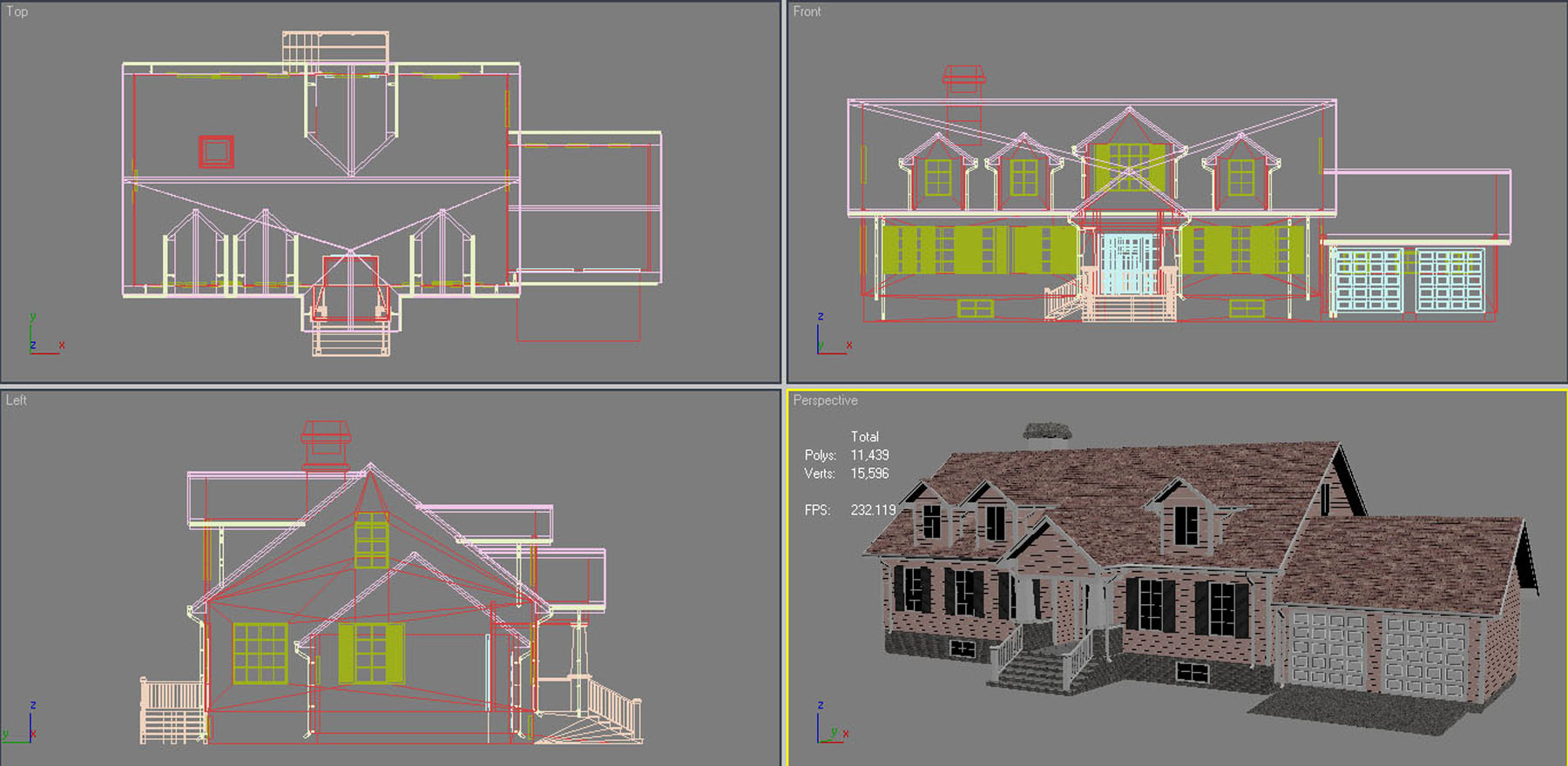 family house set collection 3d model 3ds max  fbx obj 270294