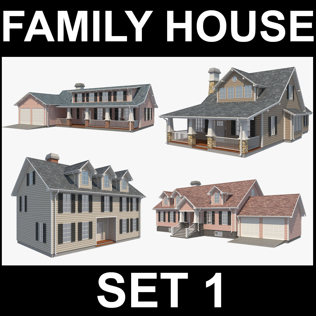 family house set collection 3d model 3ds max  fbx obj 270301