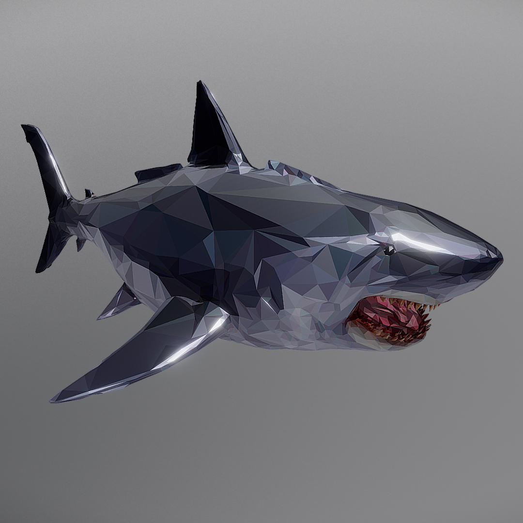 dark shark low polygon 3d model 3ds max fbx ma mb tga targa icb vda vst pix obj 270309