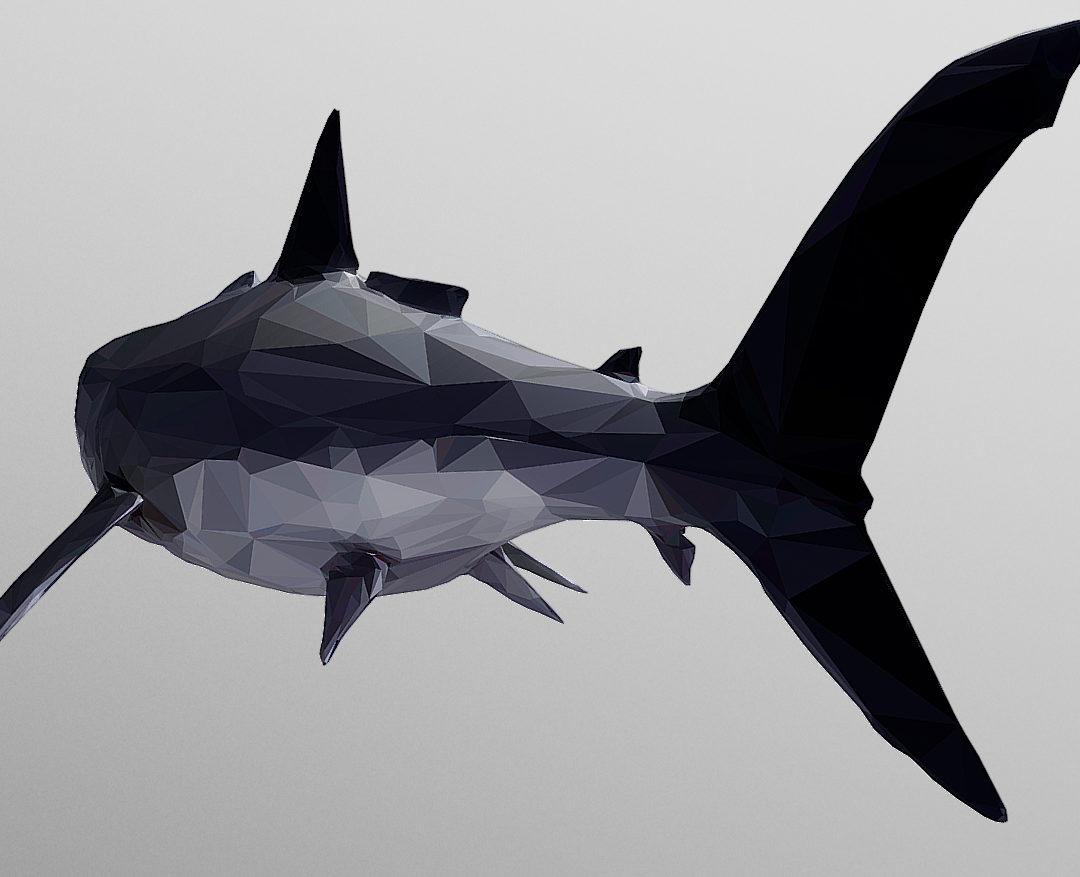 Dark Shark Low Polygon Art Ocean Fish 3D model 3d model 0