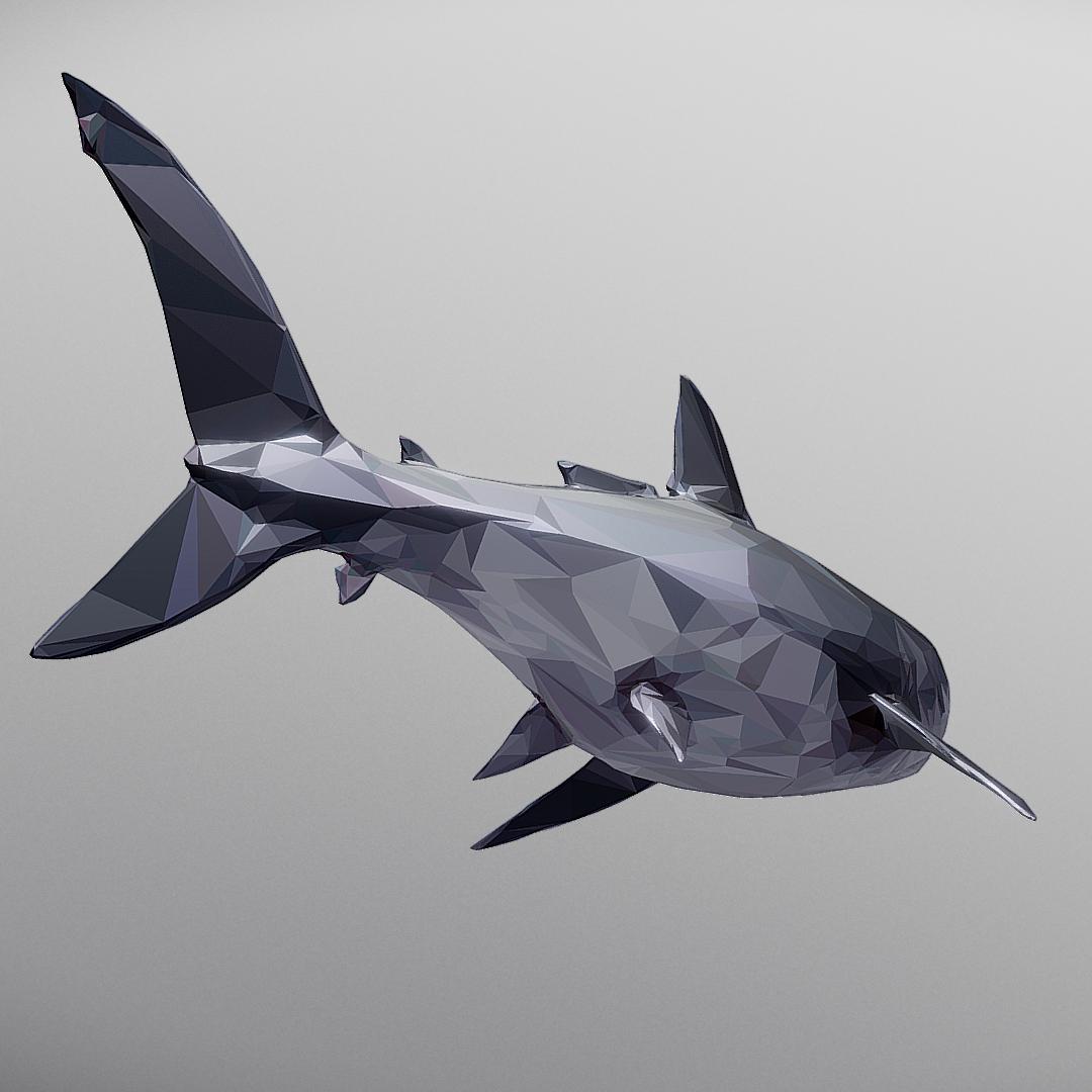 dark shark low polygon 3d model 3ds max fbx ma mb tga targa icb vda vst pix obj 270317