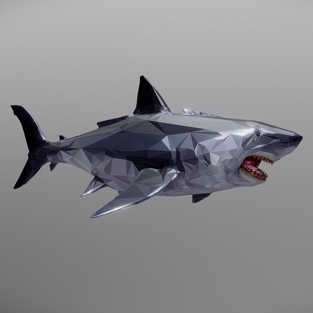 dark shark low polygon 3d model 3ds max fbx ma mb tga targa icb vda vst pix obj 270318
