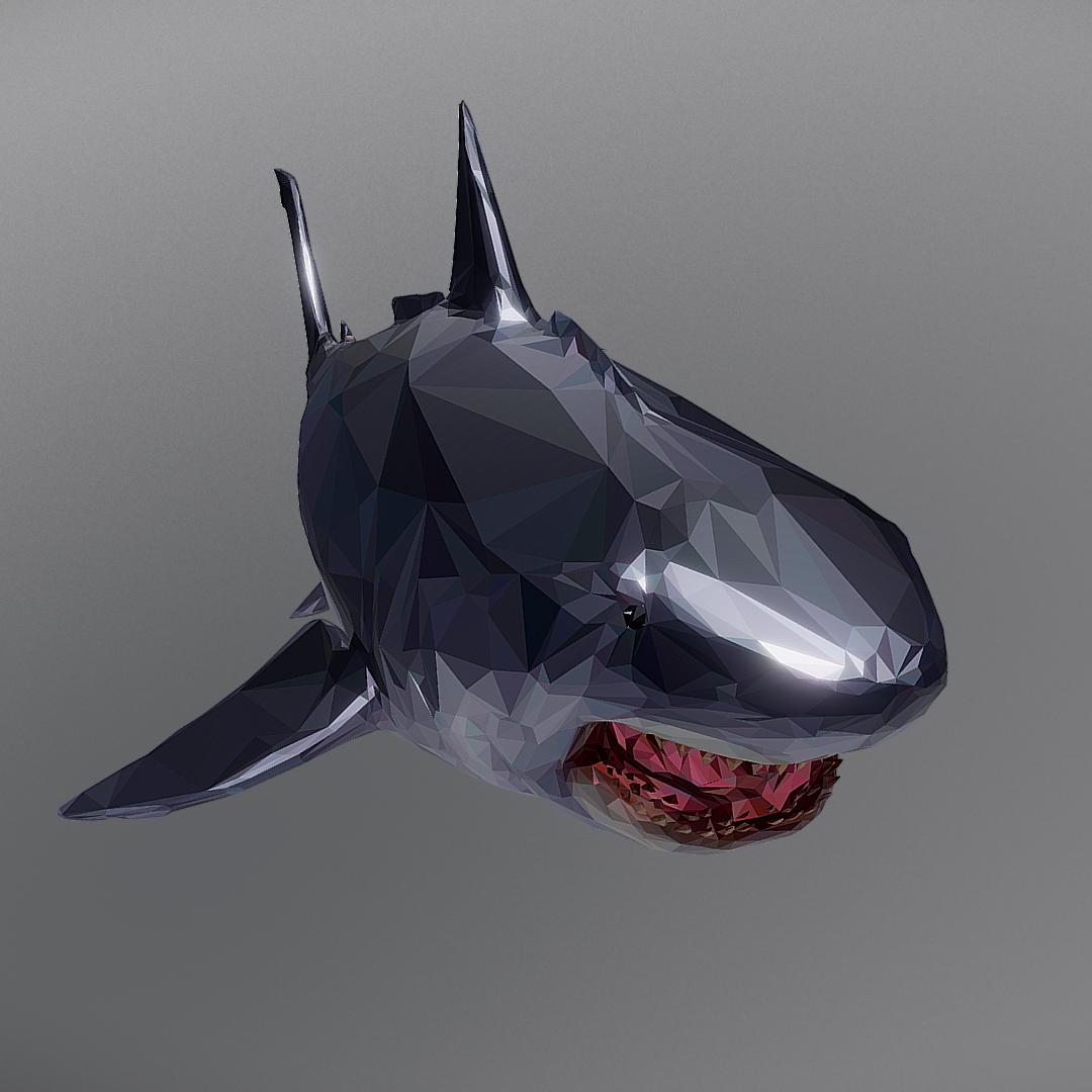 dark shark low polygon 3d model 3ds max fbx ma mb tga targa icb vda vst pix obj 270319