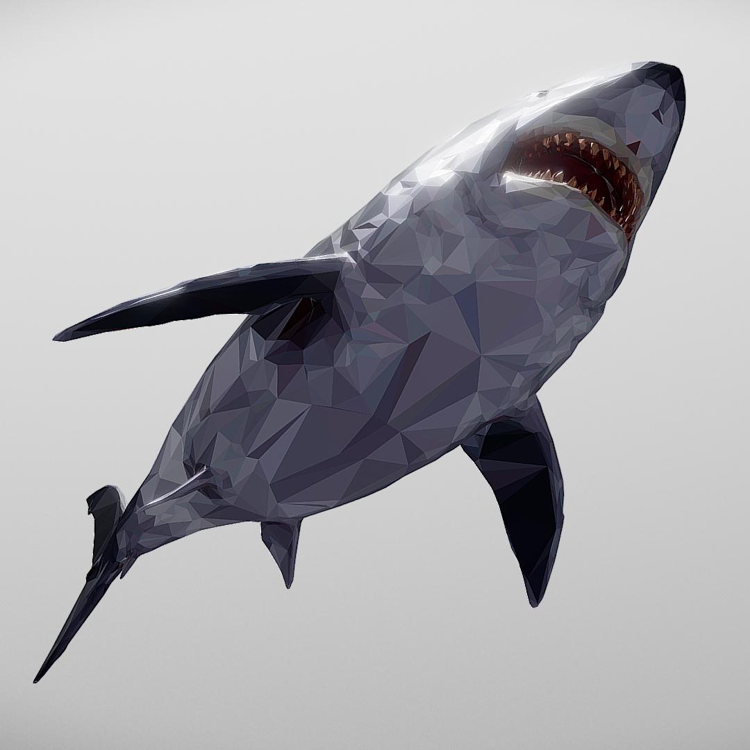 dark shark low polygon 3d model 3ds max fbx ma mb tga targa icb vda vst pix obj 270320