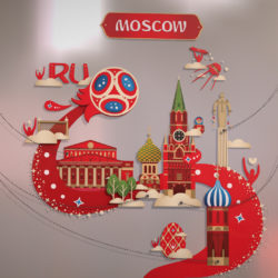 Official World Cup 2018 Russia host city MOSCOW 3d model 0