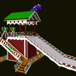 Russian Wooden Winter Slide Attraction 3d model  fbx