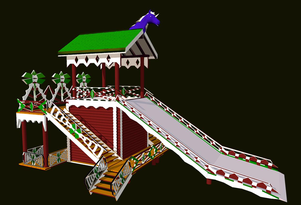 russian wooden winter slide attraction 3d model fbx 270469