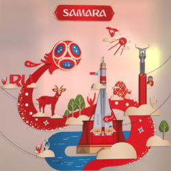 Official World Cup 2018 Russia host city SAMARA 3d model 0