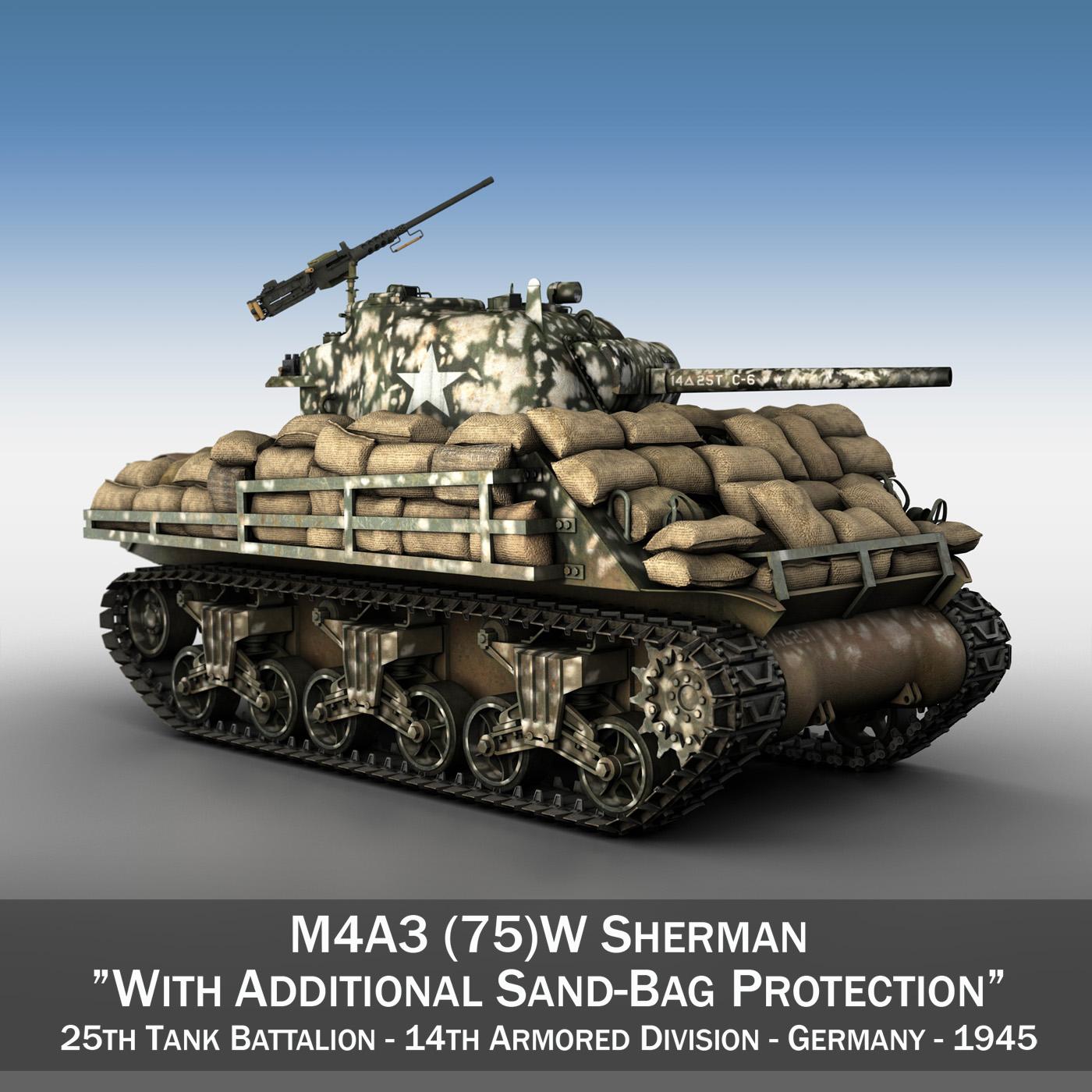 M4A3 (75) W Sherman - 25TB 3d model 3ds fbx c4d lwo lws lw obj 270674