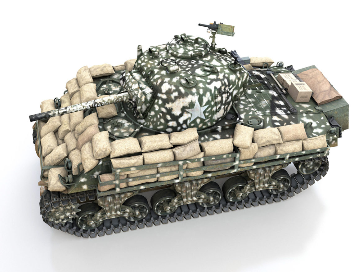 M4A3 (75) W Sherman - 25TB 3d model high poly virtual reality 3ds fbx c4d lwo lws lw obj