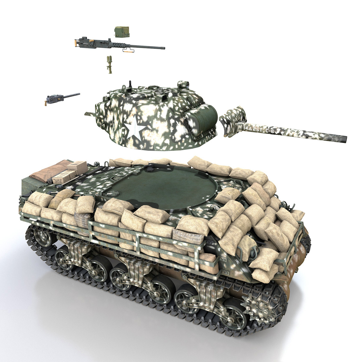 M4A3 (75) W Sherman - 25TB 3d model 3ds fbx c4d lwo lws lw obj 270684