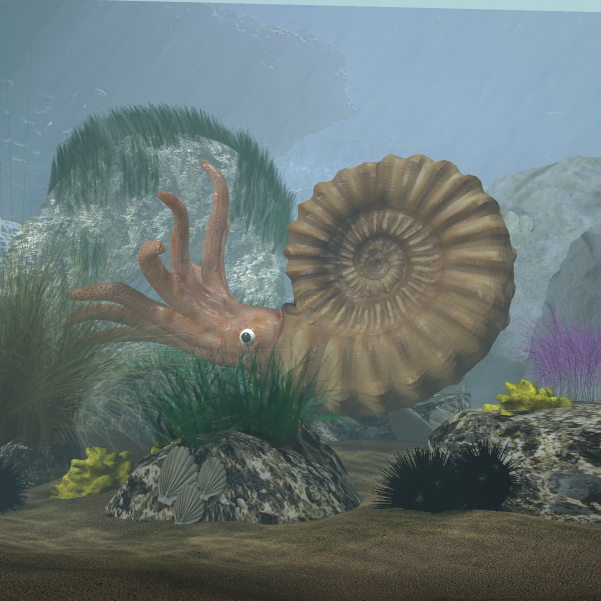 Ammonite with complete underwater scene 3d model max fbx  obj 270743