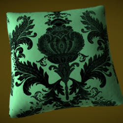 Silk pillow for a bed or a sofa - Baroque stile 3d model 0