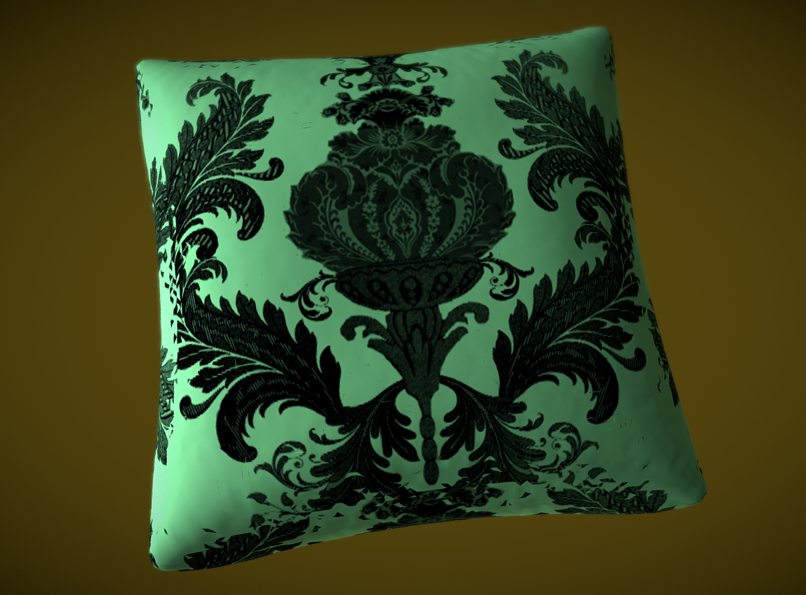 Silk pillow for a bed or a sofa - Baroque stile 3d model fbx 270821