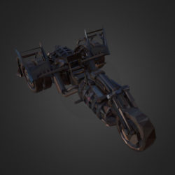 Low Polygon Art Steampunk Treble Bike 3d model 0