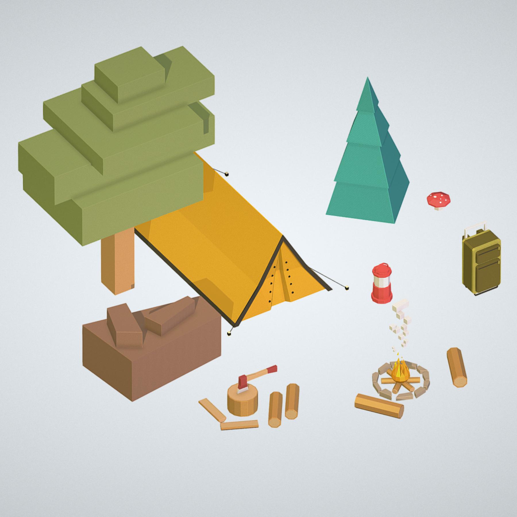 objects tourism cooking bbq tent fire ax 3d model 3ds max fbx ma mb png obj 271071