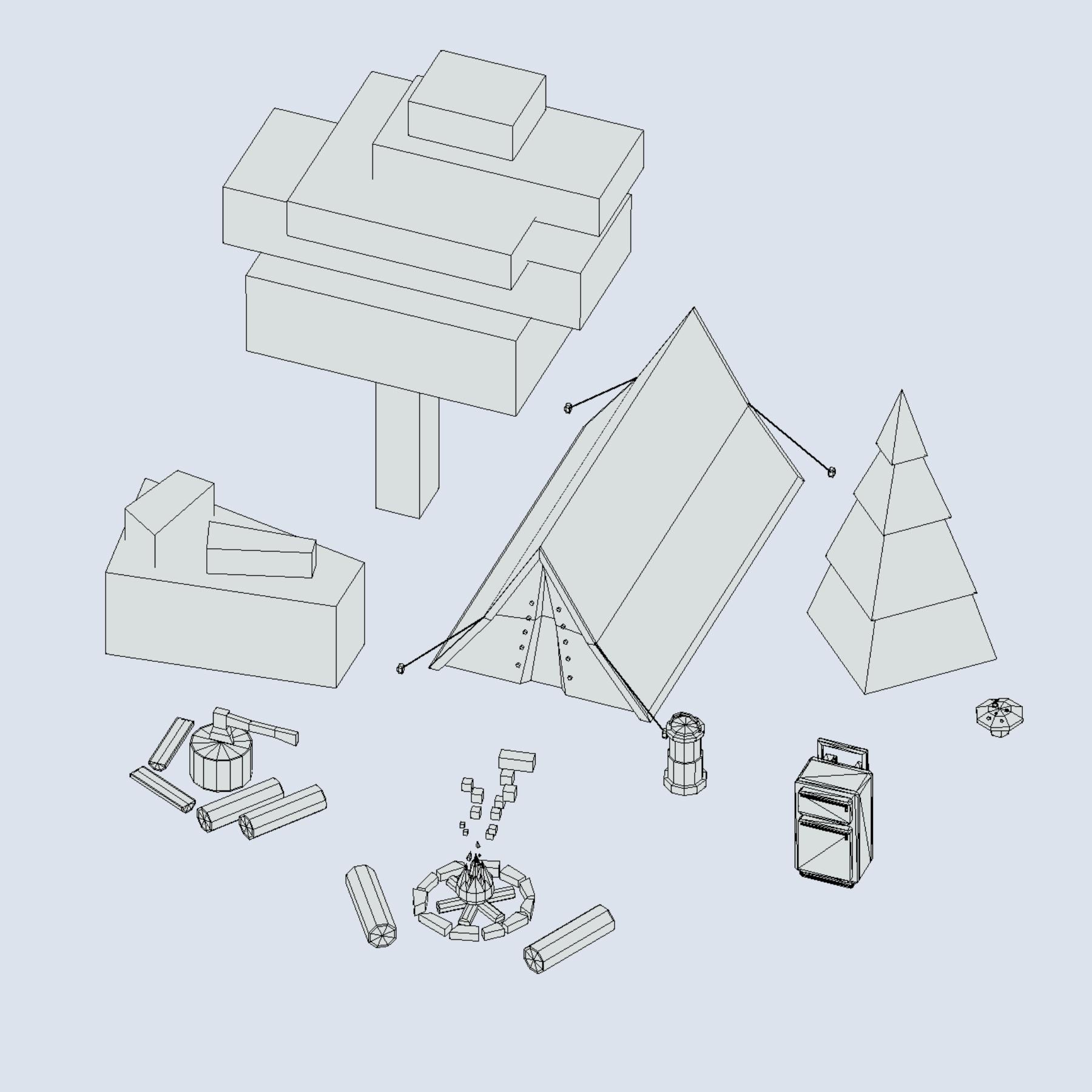 objects tourism cooking bbq tent fire ax 3d model 3ds max fbx ma mb png obj 271074