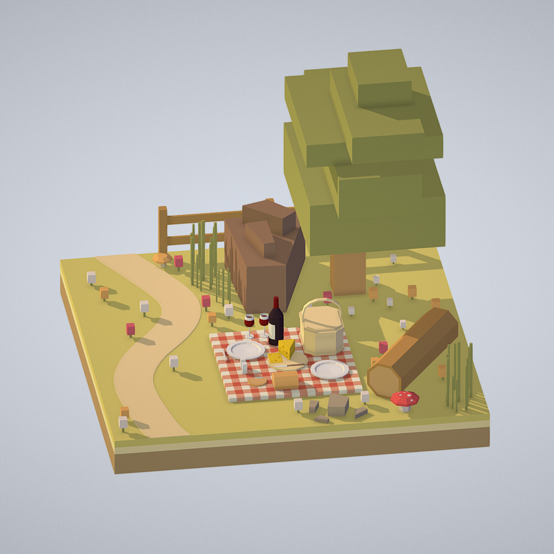 picnic with cheese and wine under a tree 3d model 3ds max fbx ma mb obj 271080