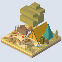 isometric camping ground near a big tree 3d model 0