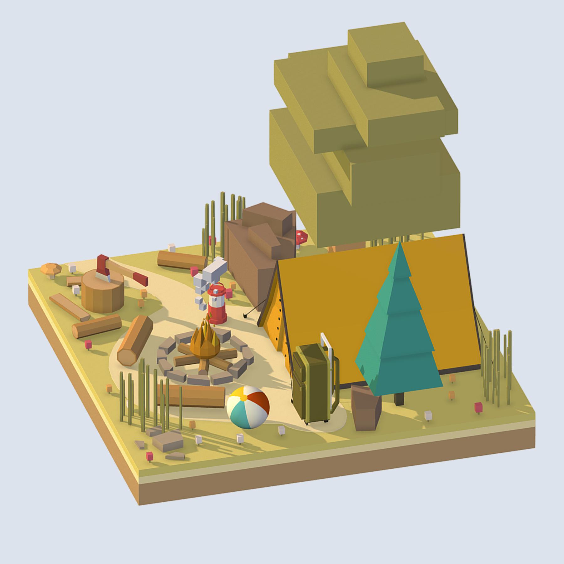 isometric camping ground near a big tree 3d model 3ds max fbx ma mb obj 271092
