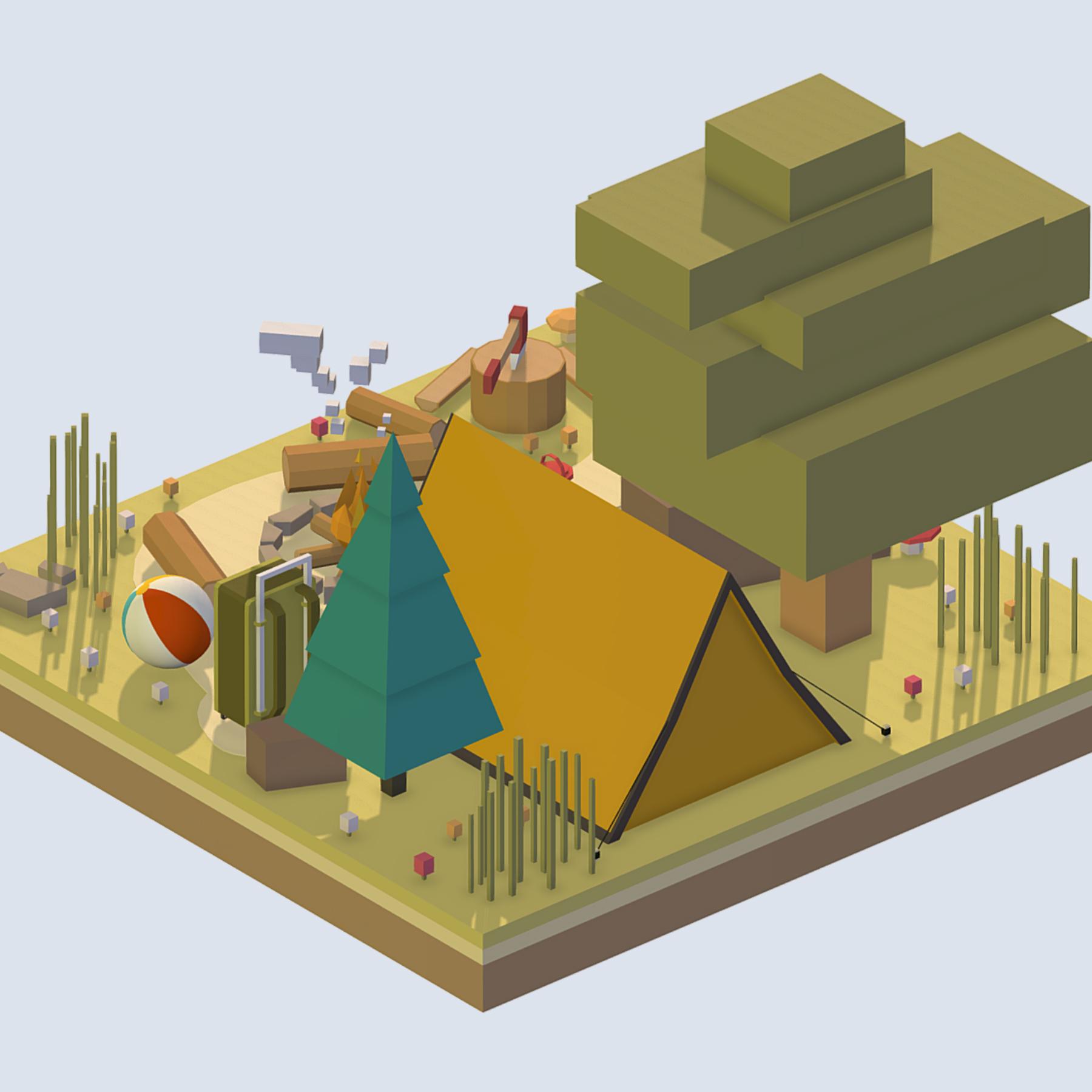 isometric camping ground near a big tree 3d model 3ds max fbx ma mb obj 271093