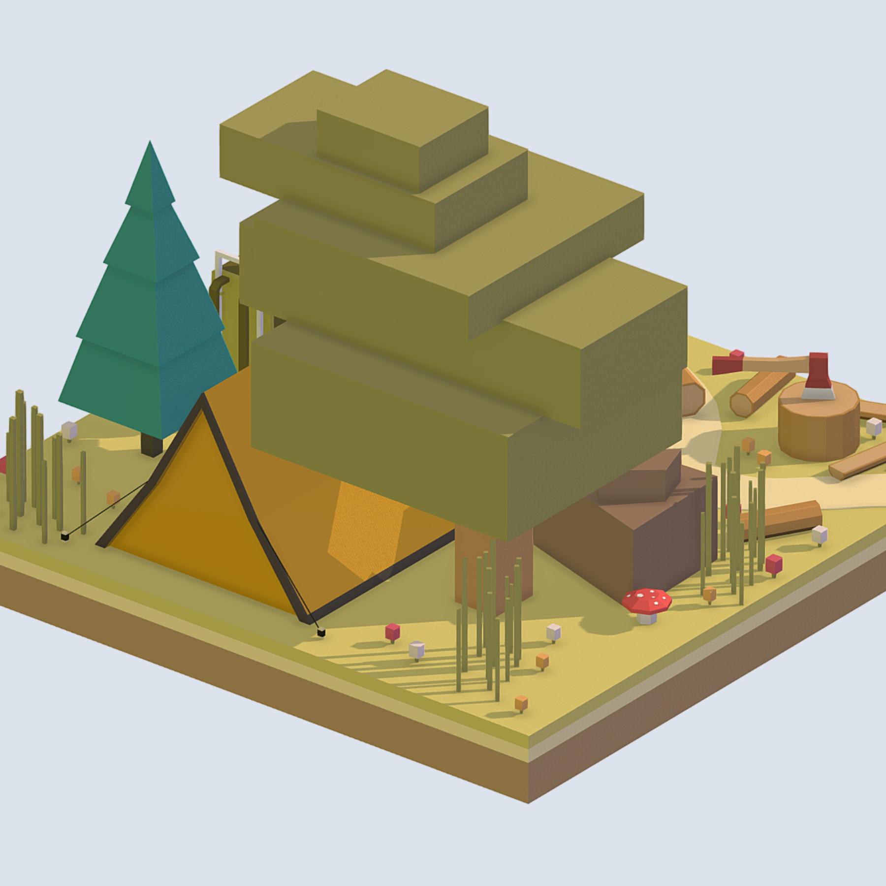 isometric camping ground near a big tree 3d model 3ds max fbx ma mb obj 271094