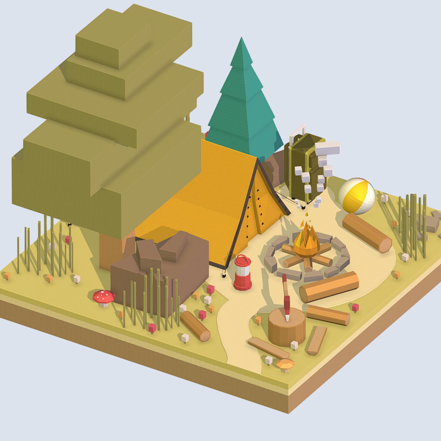 isometric camping ground near a big tree 3d model 3ds max fbx ma mb obj 271095