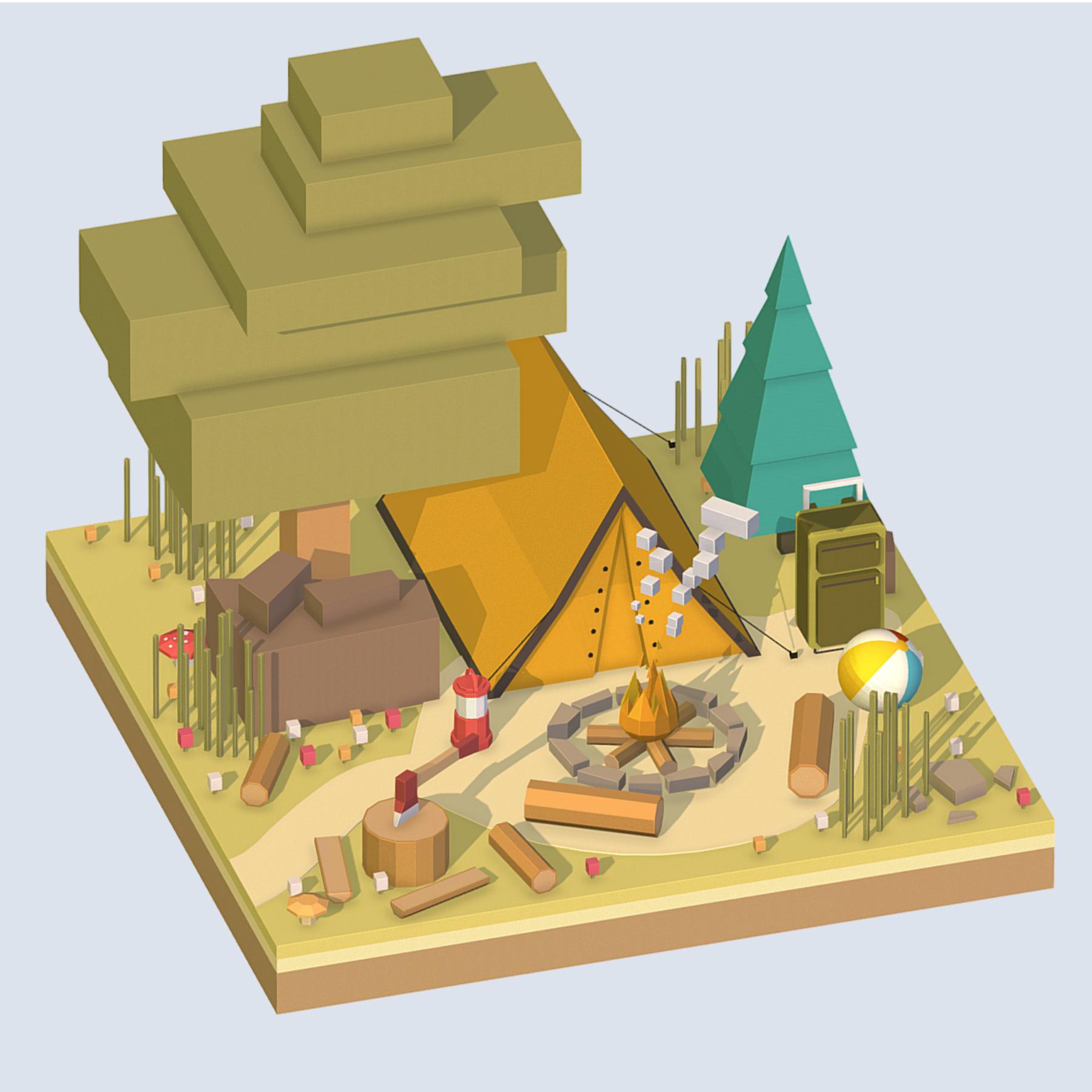 isometric camping ground near a big tree 3d model 3ds max fbx ma mb obj 271096