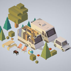 camping van car parked with barbecue 3d model 3d printing augmented reality augmented reality ready game ready games high poly low poly render ready virtual reality vr ecards 3ds max fbx ma mb png obj