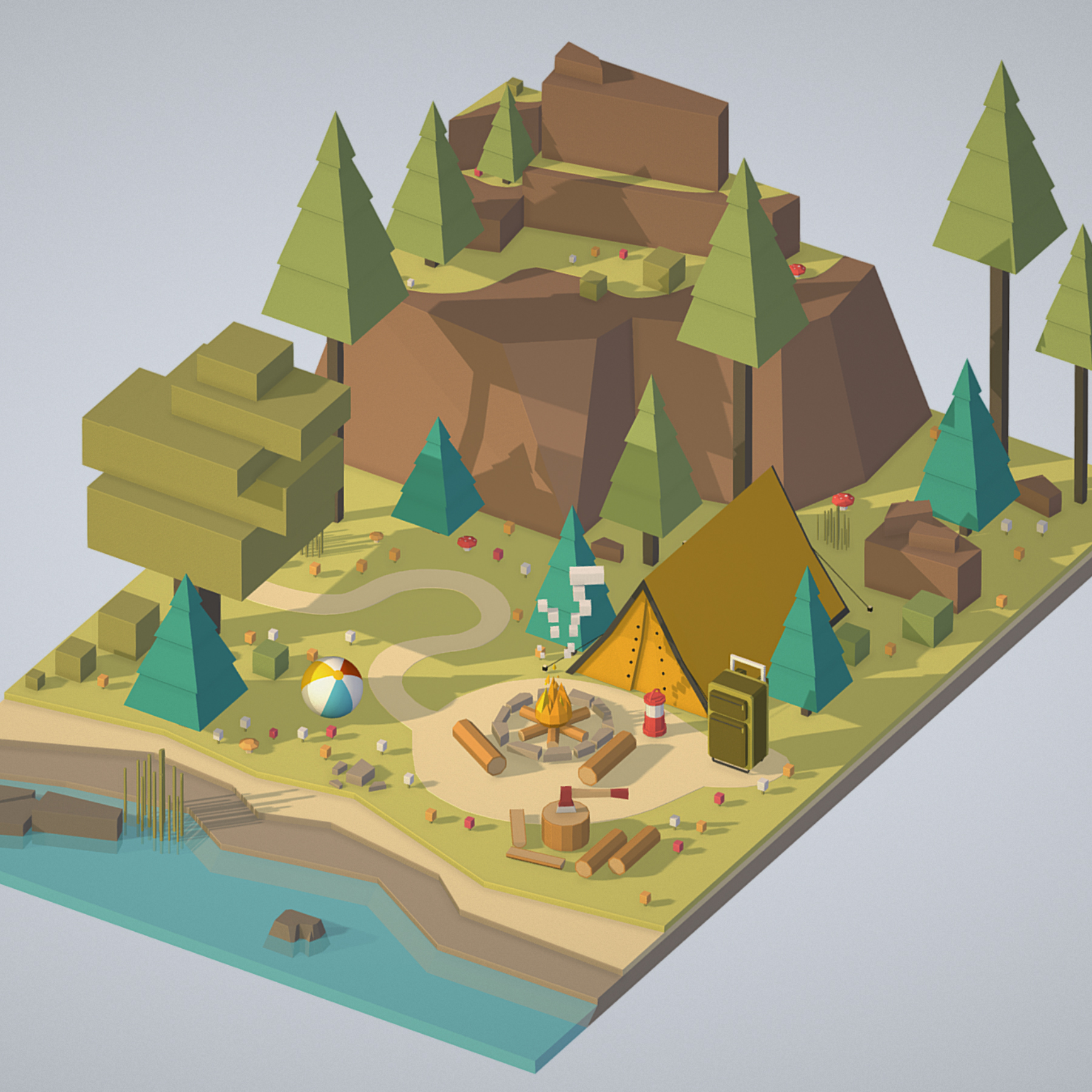 isometric campsite near a river mountain 3d model 3ds max fbx ma mb png obj 271121