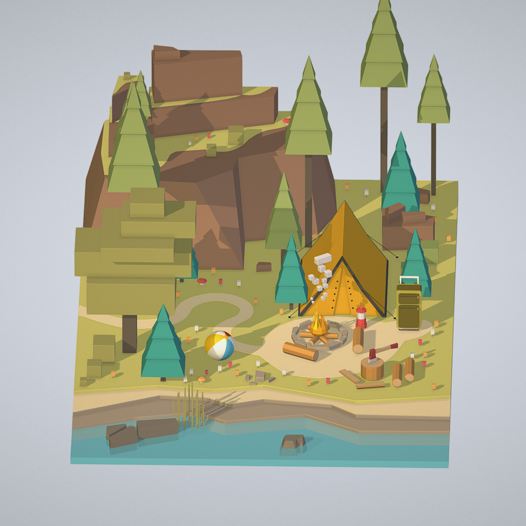 isometric campsite near a river mountain 3d model 3ds max fbx ma mb png obj 271122