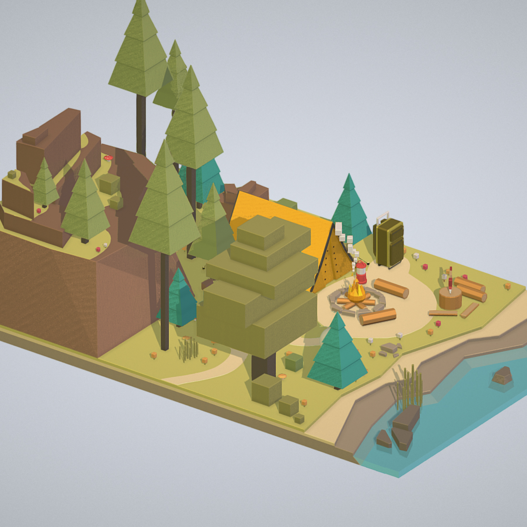 isometric campsite near a river mountain 3d model 3ds max fbx ma mb png obj 271123